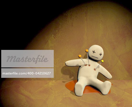 Dark series - voodoo doll, pierced with pins Stock Photo - Royalty-Free, Artist: frenta, Code: 400-04210627