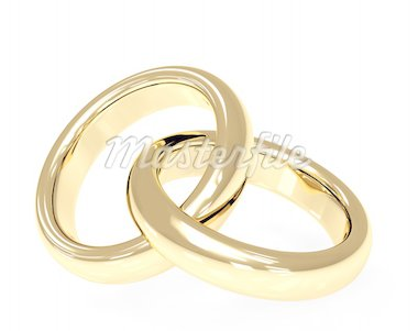 Two 3d gold wedding rings. Objects over white Stock Photo - Royalty-Free, Artist: frenta, Code: 400-04210634