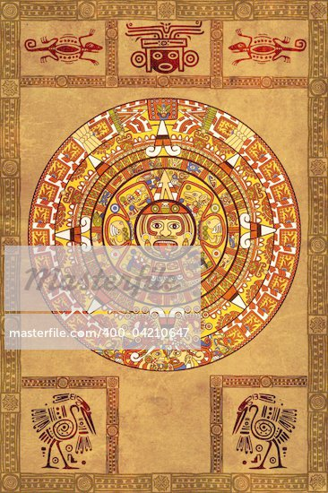 Maya calendar on ancient parchment Stock Photo - Royalty-Free, Artist: frenta, Code: 400-04210647
