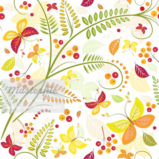 Floral seamless autumn pattern with butterflies and colorful leaves (vector) Stock Photo - Royalty-Free, Artist: OlgaDrozd, Code: 400-04216063