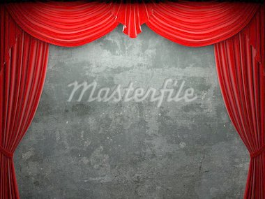 Red velvet curtain opening scene made in 3d Stock Photo - Royalty-Free, Artist: icetray, Code: 400-04220868