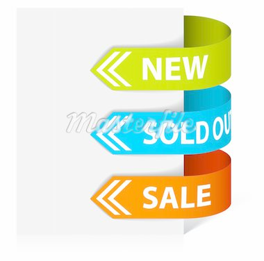 Set of arrows pointing at the new, sold out and discount item Stock Photo - Royalty-Free, Artist: orsonsurf, Code: 400-04221555