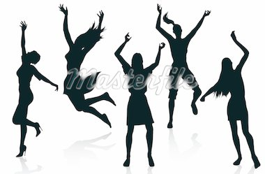 Active women silhouettes isolated on white background Stock Photo - Royalty-Free, Artist: illustrart, Code: 400-04222950