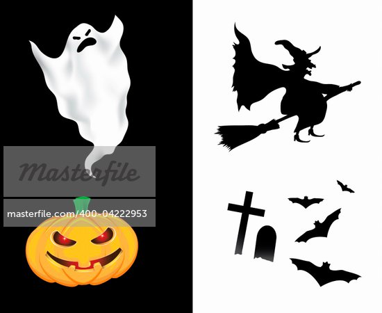 Halloween design elements isolated on white and black background Stock Photo - Royalty-Free, Artist: illustrart, Code: 400-04222953