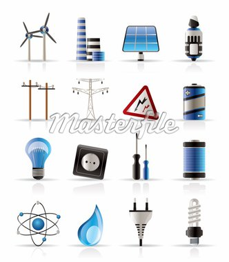 Electricity,  power and energy icons - vector icon set Stock Photo - Royalty-Free, Artist: stoyanh, Code: 400-04228350