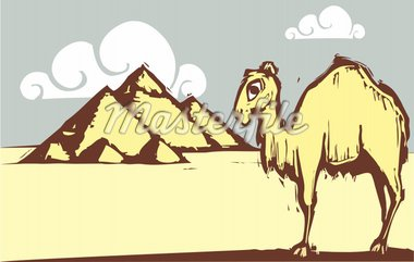 Single hump camel in woodcut style by pyramids. Stock Photo - Royalty-Free, Artist: xochicalco, Code: 400-04231280