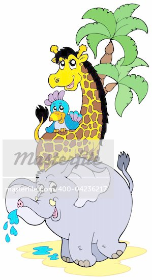Cartoon African animals - vector illustration. Stock Photo - Royalty-Free, Artist: clairev, Code: 400-04236217