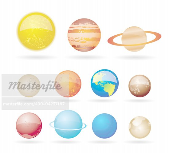 Planets and sun from our solar system. Vector illustration. Stock Photo - Royalty-Free, Artist: stoyanh, Code: 400-04237187