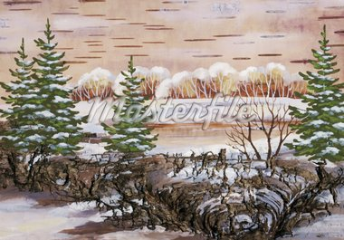 Winter natural landscape. Handmade, drawing distemper on a birch bark Stock Photo - Royalty-Free, Artist: alexcoolok, Code: 400-04240066