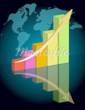 Business graph with world background. / Business success - graph Stock Photo - Royalty-Free, Artist: Alexmillos, Code: 400-04240502