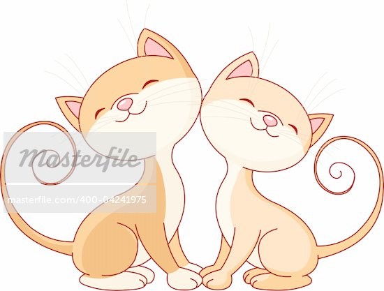 Illustration of two cute cats in love stock photo royalty free