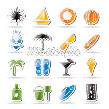 Simple Summer and Holiday Icons - Vector Icon Set Stock Photo - Royalty-Free, Artist: stoyanh, Code: 400-04242398