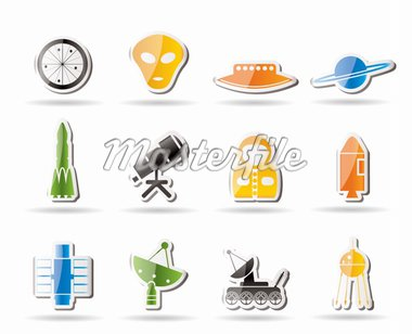 Simple Astronautics and Space Icons - Vector Icon Set 2 Stock Photo - Royalty-Free, Artist: stoyanh, Code: 400-04242400
