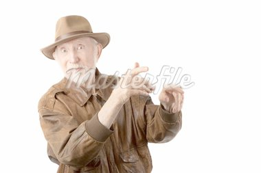 Adventurer or archaeologist in brown leather jacket Stock Photo - Royalty-Free, Artist: creatista                     , Code: 400-04256623