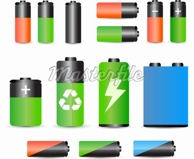 A set of glossy batteries Stock Photo - Royalty-Free, Artist: mastertasso                   , Code: 400-04256862