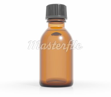Medical bottle of brown color glass with liquid and black plastic cap, 3d Stock Photo - Royalty-Free, Artist: Sylverarts                    , Code: 400-04257059