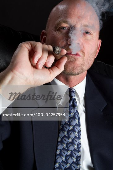 Business man smoking cigar Stock Photo - Royalty-Free, Artist: keeweeboy                     , Code: 400-04257954