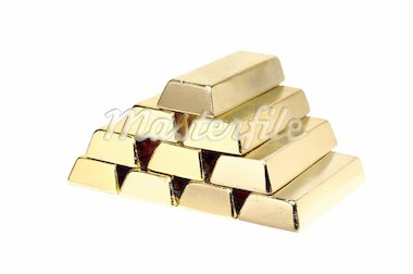 Gold bars isolated on white background Stock Photo - Royalty-Free, Artist: tetkoren                      , Code: 400-04259713