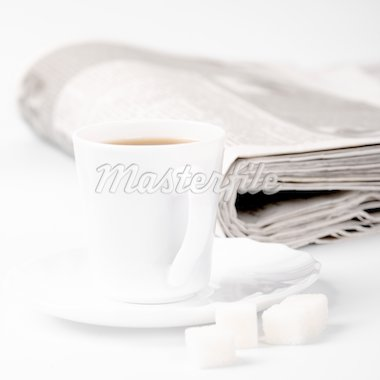 cup of coffee, sugar and stack of newspapers closeup Stock Photo - Royalty-Free, Artist: marylooo                      , Code: 400-04260065