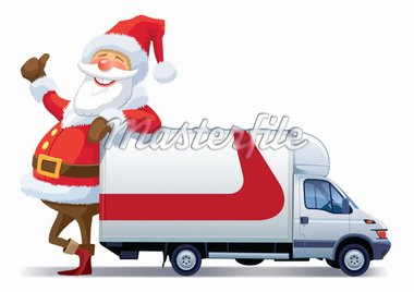 Santa Claus is advertising with christmas delivery truck Stock Photo - Royalty-Free, Artist: Kamaga                        , Code: 400-04261720