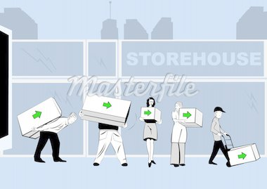 Vector illustration of people caring boxes various dimensions with an arrow on it in front of a storehouse Stock Photo - Royalty-Free, Artist: Stiven                        , Code: 400-04262078