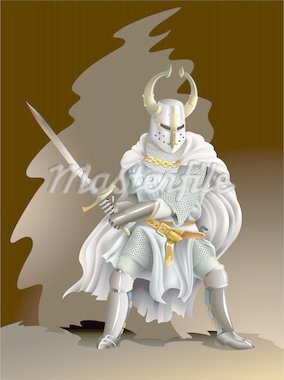 Heavy armored Crusader, Knight of Order, with a sword in his hands, vector illustration with mesh gradient Stock Photo - Royalty-Free, Artist: ensiferum                     , Code: 400-04267901