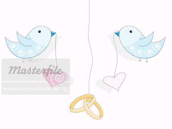 Vector pattern for wedding invitation Wedding rings hearts and blue birds