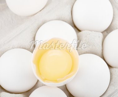 Eggs closeup with one egg is broken Stock Photo - Royalty-Free, Artist: rusak                         , Code: 400-04271985
