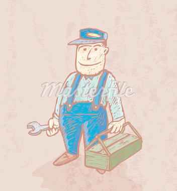 Good plumber cartoon drawn in engrave style Stock Photo - Royalty-Free, Artist: bonathos                      , Code: 400-04272437