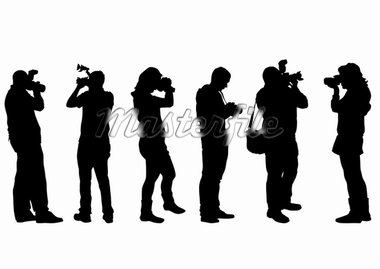 Vector image of people with cameras on a white background Stock Photo - Royalty-Free, Artist: grynold                       , Code: 400-04274377
