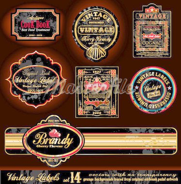 Vintage Labels - Black and Gold Elements with distressed Antique look - Set 17 Stock Photo - Royalty-Free, Artist: DavidArts                     , Code: 400-04274572