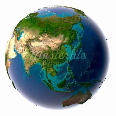 Earth with translucent water in the oceans and the detailed topography of the continents Stock Photo - Royalty-Free, Artist: Antartis                      , Code: 400-04276151