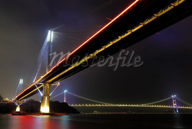Ting Kau Bridge and Tsing ma Bridge at night, in Hong Kong Stock Photo - Royalty-Free, Artist: leungchopan                   , Code: 400-04278669