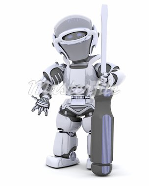 3D render of robot with a screwdriver Stock Photo - Royalty-Free, Artist: kirstypargeter                , Code: 400-04278759