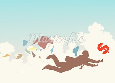 Vector colorful silhouette of a businessman desperately trying to catch a falling dollar Stock Photo - Royalty-Free, Artist: tawng                         , Code: 400-04281371