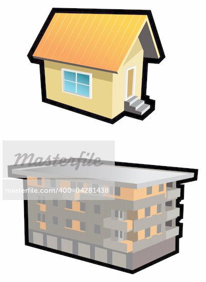 Two types of buildings, small hut and tenement-house, vector ...