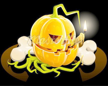 pumpkin with  skeleton bone on black background vector illustration Stock Photo - Royalty-Free, Artist: aleksangel                    , Code: 400-04283970