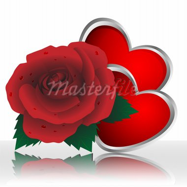 Rose of red color and two hearts on a white background Stock Photo - Royalty-Free, Artist: kapitan29                     , Code: 400-04284267
