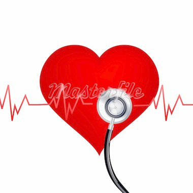 illustration of healthy heart with stethoscope on white background Stock Photo - Royalty-Free, Artist: get4net                       , Code: 400-04290021