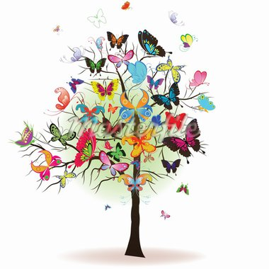 Floral tree with butterfly, element for design, vector illustration Stock Photo - Royalty-Free, Artist: svetap                        , Code: 400-04290504