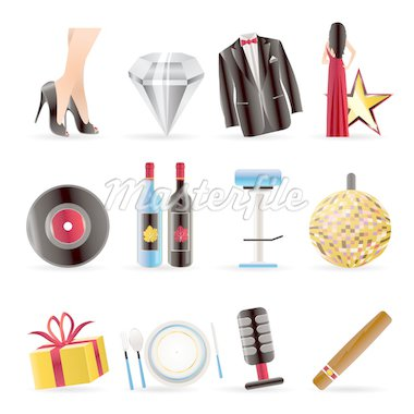 Luxury party and reception icons - vector icon set Stock Photo - Royalty-Free, Artist: stoyanh                       , Code: 400-04292417