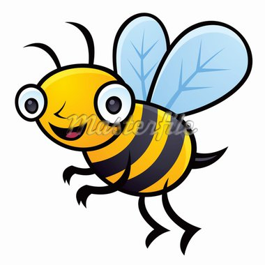 Cartoon vector illustration of a happy little bumblebee flying. Stock Photo - Royalty-Free, Artist: fizzgig                       , Code: 400-04293627