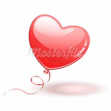 Red Heart Shape Balloon on white background Stock Photo - Royalty-Free, Artist: avian                         , Code: 400-04294977