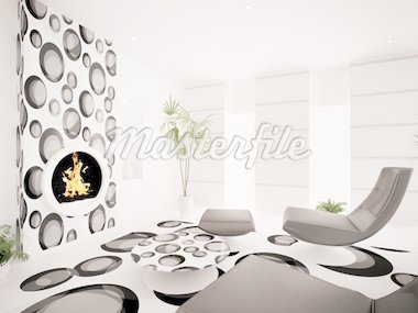 Modern interior of living room with fireplace 3d render Stock Photo - Royalty-Free, Artist: scovad                        , Code: 400-04296437