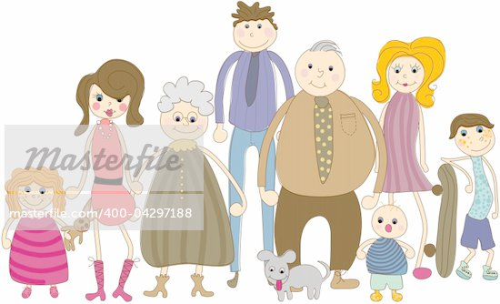 An illustration of an extended family. Stock Photo - Royalty-Free, Artist: Linneae                       , Code: 400-04297188
