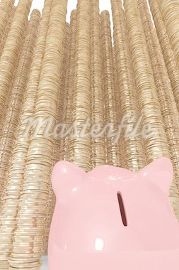 Piggy bank looking at large piles of coins Stock Photo - Royalty-Free, Artist: KristijanZontar               , Code: 400-04298577