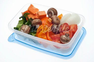 Variety of Vegetables Mushroom, Pepper, Onion, Tomato, and Sweet Potato in a Plastic Container. Stock Photo - Royalty-Free, Artist: brookebecker                  , Code: 400-04300920