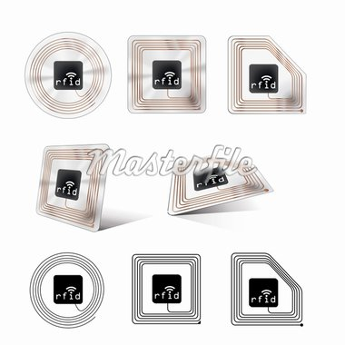 A set of different looking rfid chips Stock Photo - Royalty-Free, Artist: magann                        , Code: 400-04308804
