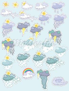 A set of weather icons in a fun patch style.    EPS8 graphic is scalable to any size. Stock Photo - Royalty-Free, Artist: k_tigress_g                   , Code: 400-04310757