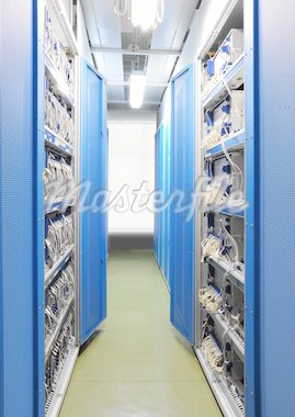 The communication and internet network server room Stock Photo - Royalty-Free, Artist: pariwatlp                     , Code: 400-04311067